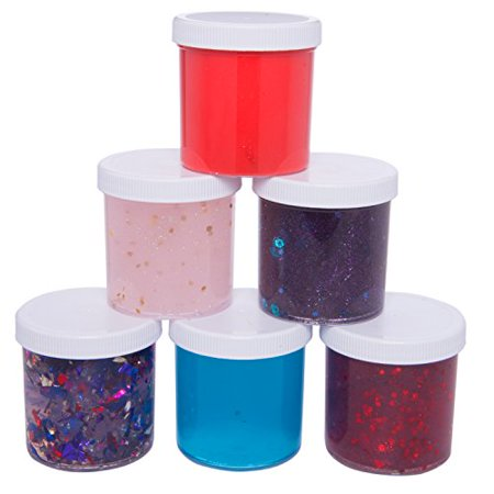 Slime Storage Jars 6oz (6 Pack) - Maddie Rae's Clear Containers For All Your Glue Putty Making