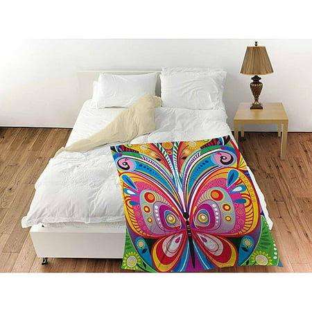 Butterfly Throw (Thumbprintz Pattern Butterfly Coral Fleece Throw, 30
