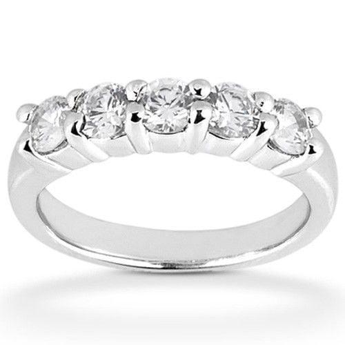 Platinum 1.0ct Round Cut Diamond Anniversary Wedding Band, Size 6, Prong Set, 1 5ct each by