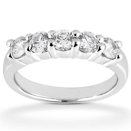 Platinum 1.0ct Round Cut Diamond Anniversary Wedding Band, Size 6, Prong Set, 1/5ct each