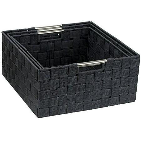 Sorbus Storage Box Woven Basket Bin Container Tote Cube Organizer Set Stackable Storage Basket Woven Strap Shelf Organizer Built-In Carry Handles (Woven Basket Set - 3 Piece, Gray) - Toto Basket