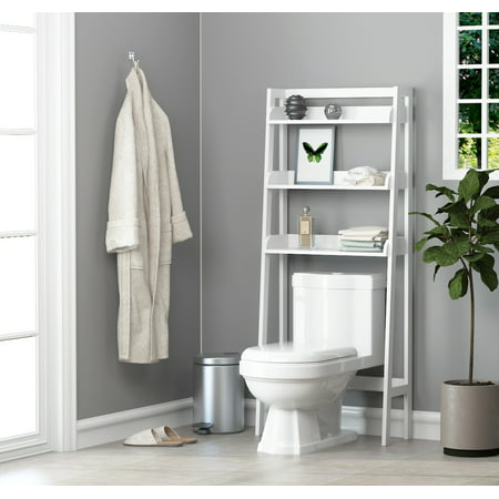 UTEX 3-Shelf Bathroom Organizer Over The Toilet, Bathroom Space saver, Bathroom Shelf, White Finish