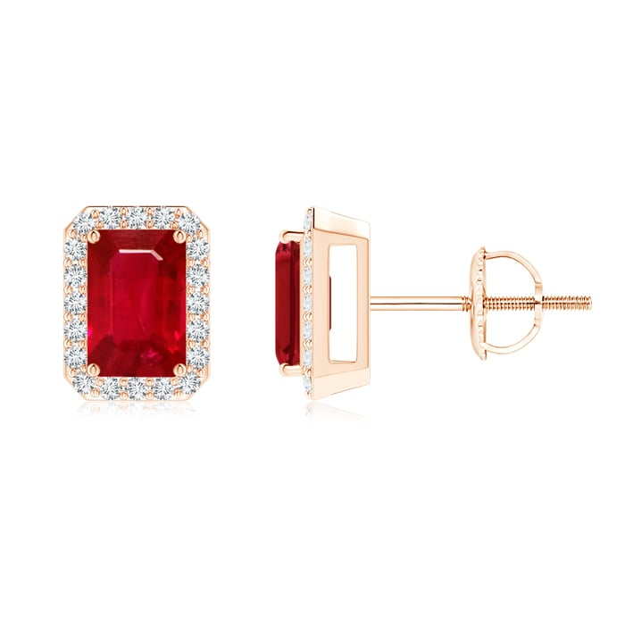 Angara Natural Ruby Gemstone Studs for Her in 14k Rose Gold dn31b