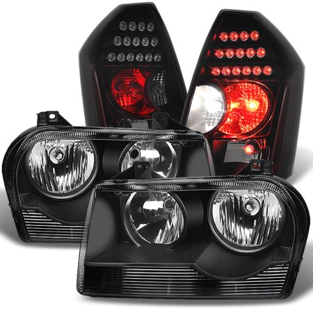 - Fit 2005-2010 Chrysler 300 Halogen Black Headlights+Black Smoked LED Tail Lights
