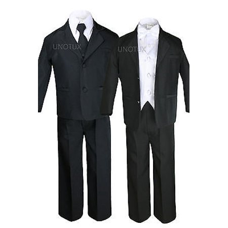 White Vest Bow Tie Boy Kid Teen Formal Wedding Party Black 5pc Suit Tuxedo S-20