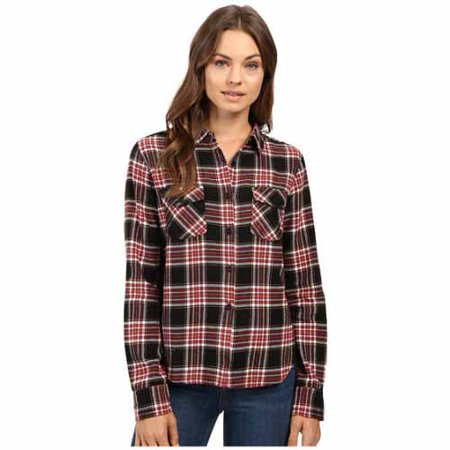 Volcom Womens Cozy Day Long Sleeve Flannel Top (Black Combo, X-Small)