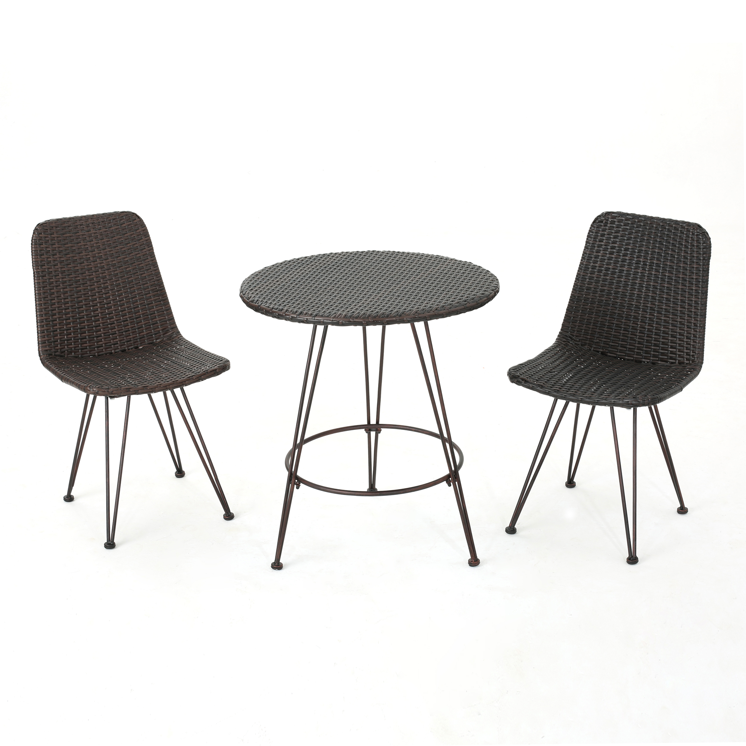 Pines Outdoor Wicker 3 Piece Bistro Set with Hairpin Iron Legs, Multibrown and Black Brush Copper