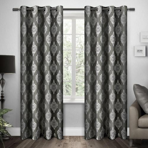 Damask Grommet Top Curtain Panel Pair Black Pearl 84-inch length