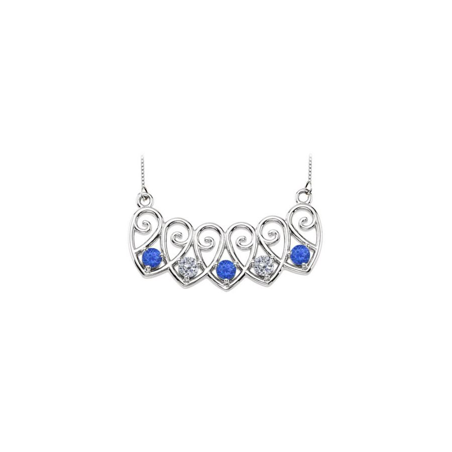 LoveBrightJewelry 14K White Gold Created Sapphires and Cubic Zirconia Mothers Necklace Mounting by Love Bright