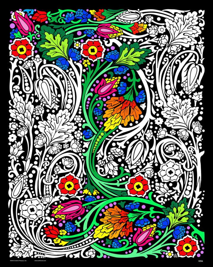 Floral Mania - Fuzzy Velvet Coloring Poster 16x20 Inches - Walmart.com -  Walmart.com