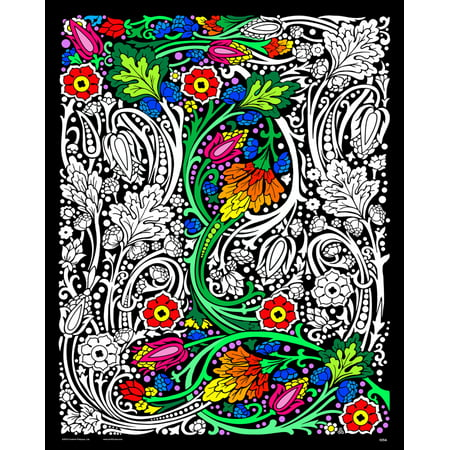 Fuzzy Poster (Floral Mania - Fuzzy Velvet Coloring Poster 16x20)