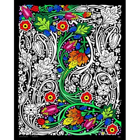 Floral Mania - Fuzzy Velvet Coloring Poster 16x20 Inches