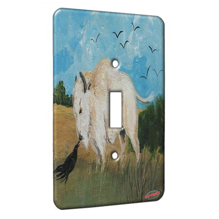 KuzmarK™ Single Gang Toggle Switch Wall Plate - White Buffalo Speaks with Raven Wildlife Art by Denise - Wildlife Switchplate