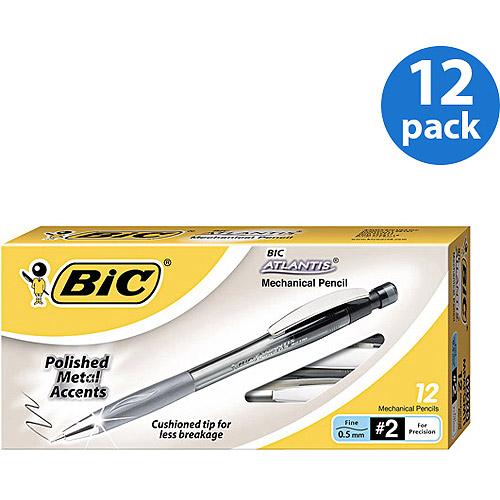 BIC 12pk Atlantis Metal Mechanical Pencil, 0.5 mm, Smoked Gray Barrel