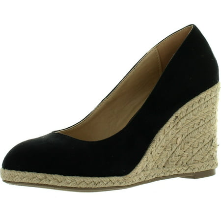 Delicious Womens Parma Round Toe Espadrille Wedge Slip on -