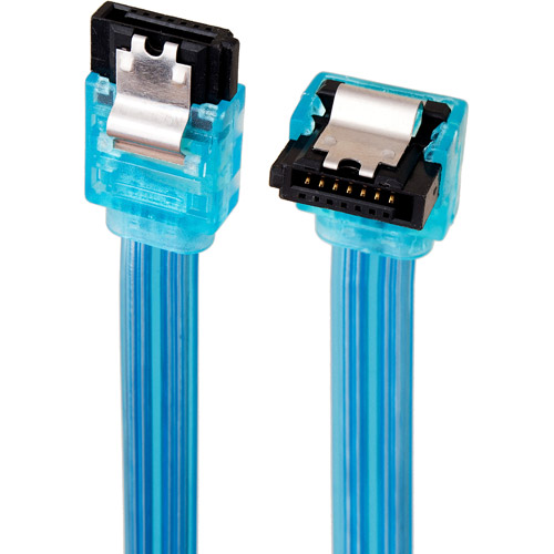 Link Depot 1.5' SATA 3Gbps Straight to Right Angle Cable, UV Blue