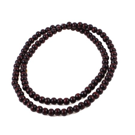 Unique Bargains Flexible Sandalwood Buddhist Prayer Beads Bracelet Necklace Brown
