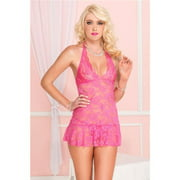 Floral stretch lace chemise 60034-HOTPINK