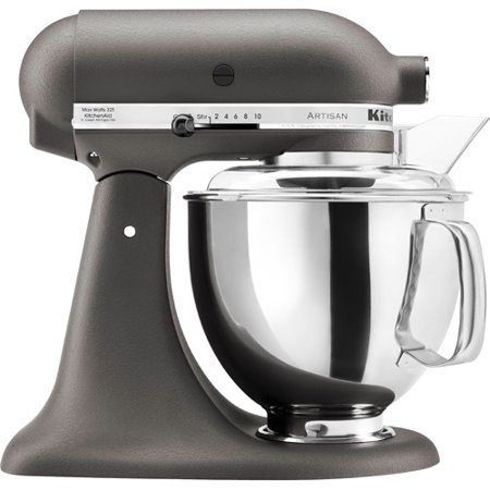 The KitchenAid Artisan Series 5-Quart Tilt-Head Stand Mixer KSMPSER features watts of power so you'll have ample power for tough jobs such as kneading bread and whipping cream. The 5-quart mixing bowl is big enough for up to four loaves of bread or nine dozen cookies, meaning you'll have plenty of room for mixing.