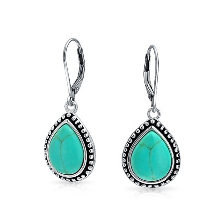 Bali Style Stabilized Turquoise Framed Pear Shaped Teardrop Leverback Dangle Earrings For Women Oxidized Sterling (Teardrop Shaped Sapphire Earrings)