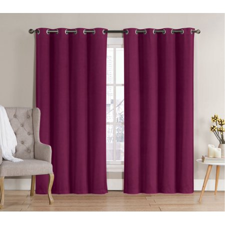 2 Pack: Hotel Thermal Grommet 100% Blackout Curtains - Berry, 84 in. Length (Berry Curtains)