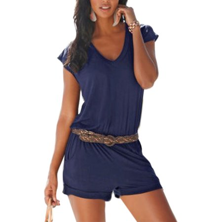 Summer Women Ladies V-Neck Casual Short Sleeve Playsuit Party Beach Jumpsuit Romper(Without the Belt) - Ted Jumpsuit