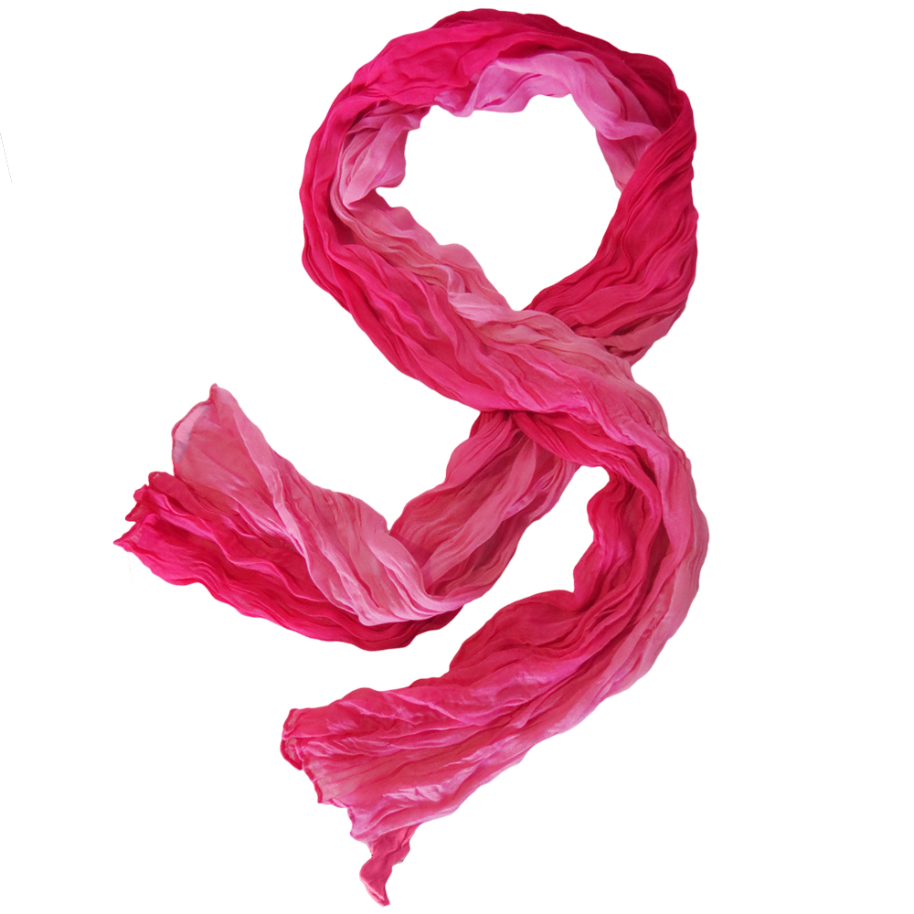 Hampton Direct Pink and Frilly Soft Crinkle Scarf Beautiful Casual & Dress, Pink