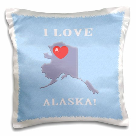 3dRose I Love Alaska with a Heart on the State, Blue, Purple, Red - Pillow Case, 16 by 16-inch (Heart Skate)