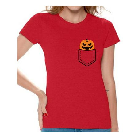 Awkward Styles Halloween Pumpkin Pocket Tshirt Halloween Shirt for Women Jack-O'-Lantern Pumpkin Pocket Shirt Pumpkin Patch Women's Tshirt Halloween Costume T Shirt Spooky Gifts Pumpkin Face Shirt - Halloween T Shirts Ladies