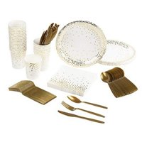 Party Supplies  Serves 24  Includes Plates, Knives, Spoons, Forks, Cups and Napkins. Perfect Wedding Party Pack for Anniversary, Bridal Shower, Gold Foil Polka Pattern
