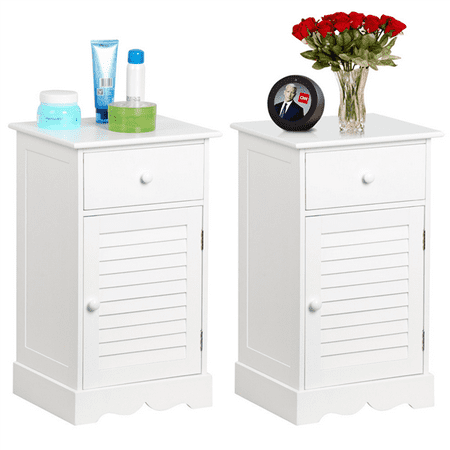 Set of 2 Wooden Nightstands End Table Storage with Storage Drawer and Cupboard Units White ()