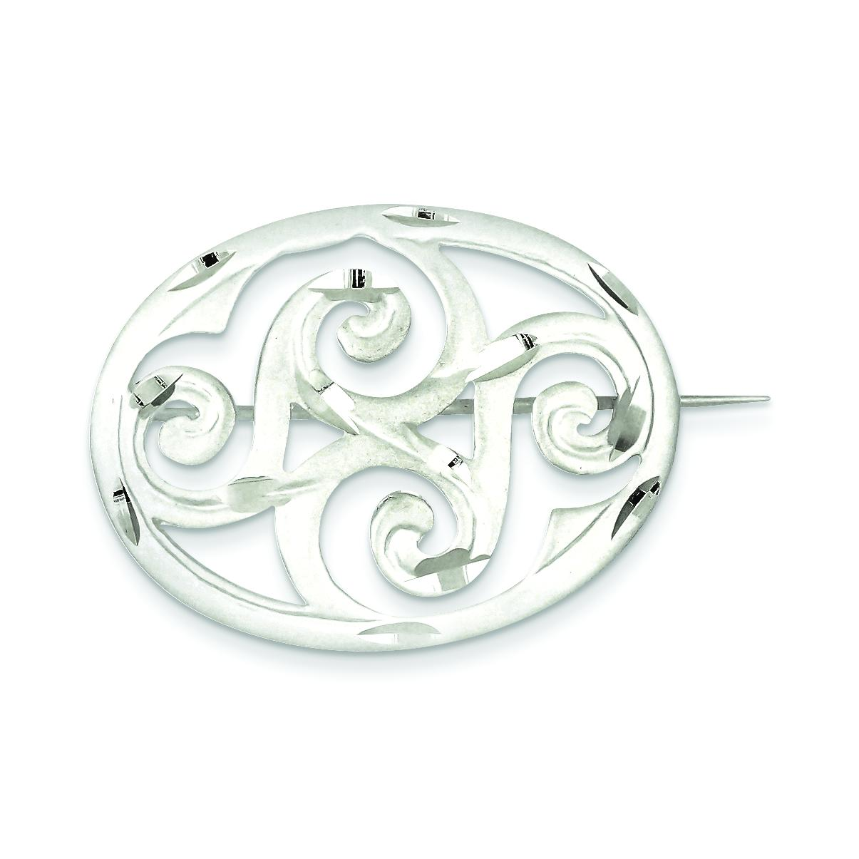 Sterling Silver Scroll Pin Brooch Fancy Jewelry by