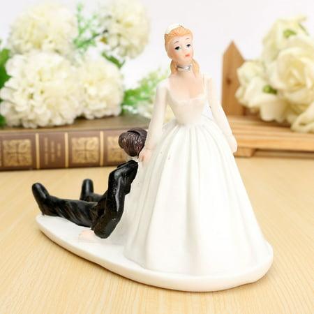 Meigar Wedding Cake Topper Couple Figurine Romantic Love Bride Groom Anniversary Decor Bride Dragging Groom Cake Topper