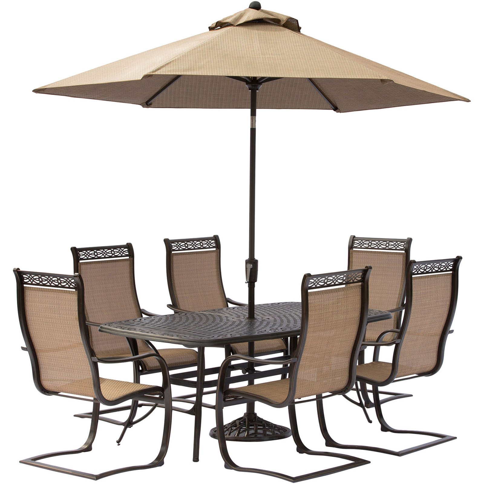 Hanover Manor 7 Piece Outdoor Dining Set With C Spring