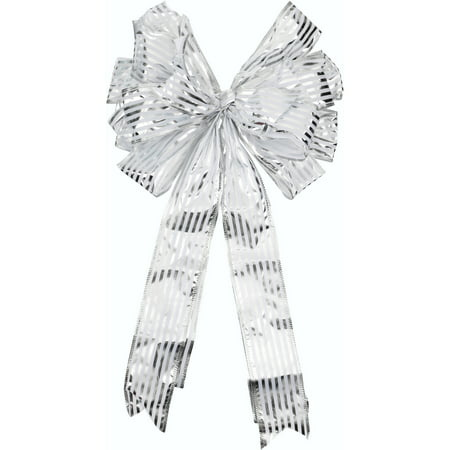 Holiday Time Silver Tree Topper Bow
