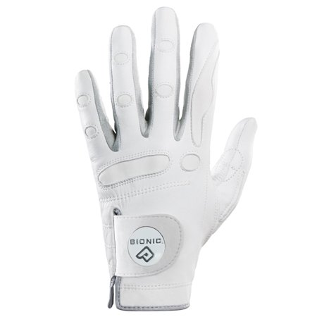 Bionic Women's Left Hand PerformanceGrip Glove with Ball Marker - White