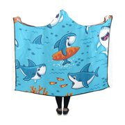 ASHLEIGH Hooded Throw Wrap Funny Sharks Wearable Hooded Blanket 50x60 Inch Comforter Soft Cosplay Robe