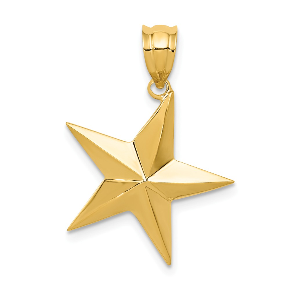 14k Yellow Gold Polished Star Pendant