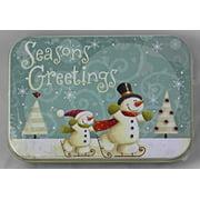 lindy bowman christmas holiday gift card tin box seasons greetings snowmen 2 pack - Seasons Greetings Cards
