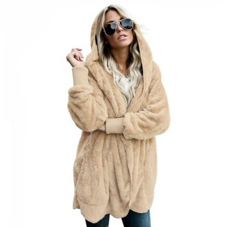 Winter Warm Faux Fur Cardigan Women's Jacket coat Female Lamb Wool Coat Pink Overcoat Long Sleeve Hooded Outwear (Double Breasted Wool Cardigan)