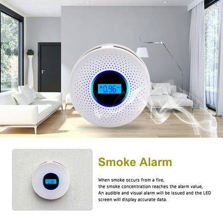 2 in 1 SMT Combination Smoke + CO Carbon Monoxide Alarm IR Photoelectric Smoke Fire Gas Sensor Alarm Detector Sound Light Combo Sensor Tester Battery Operated with