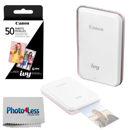 Canon IVY Mini Mobile Photo Printer (Rose Gold) - ZINK Zero Ink Printing Technology – Wireless/Bluetooth + Canon 2 x 3 ZINK Photo Paper Pack (50 Sheets) + Photo4Less Cleaning Cloth – Deluxe Bundle