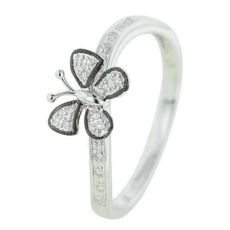 14K White Gold 0.06ct Widely Spread Wings Pave Set White Diamond Butterfly Ring
