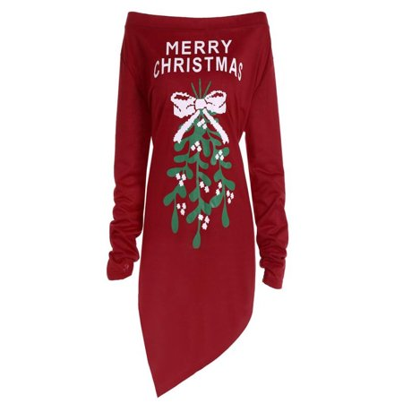 Iuhan Women Xmas Print Letter Dress Ladies Christmas Tree Long Sleeve Party Dresses