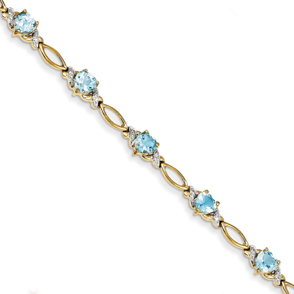 14k Yellow Gold Blue Topaz & Diamond Bracelet X3114BT BB by