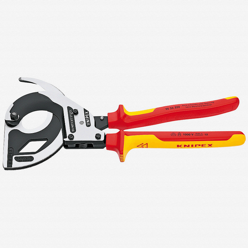 Knipex 95-36-320 Cable Cutters (ratchet action) - Insulated