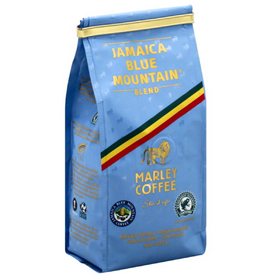 Marley Coffee Jamaica Blue Mountain Blend Ground Coffee, 8 oz, (Pack of 8)