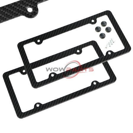 TSV 2PCS Carbon Fiber License Plate Frame Tag Cover Original 3K TWILL JDM /FF F