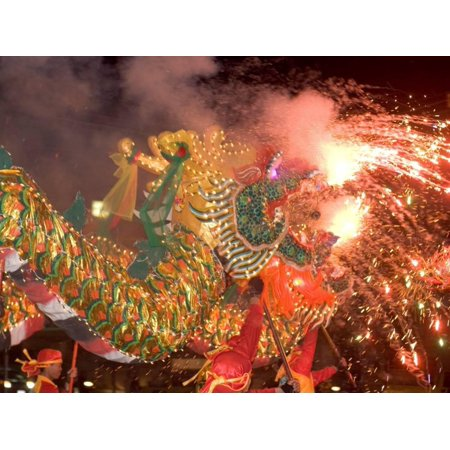Dragon Performers at Chinese Thanksgiving Festival, Khon Kaen, Isan, Thailand Print Wall Art By Gavriel Jecan (Thanksgiving Art Projects)