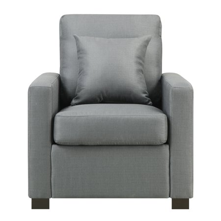 Manhattan Upholstered Arm Chair with Accent Pillow, (Federal Platinum Accent)
